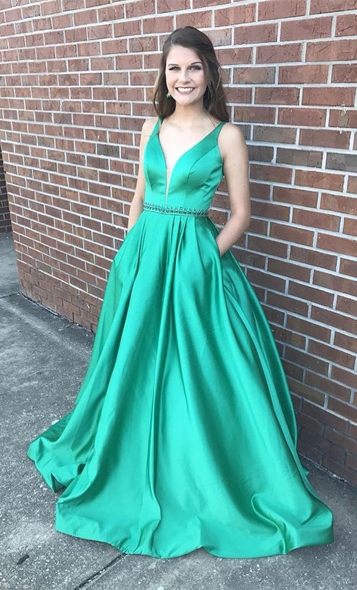 2018 green long prom dress, prom dress with pockets   Prom Dresses ...