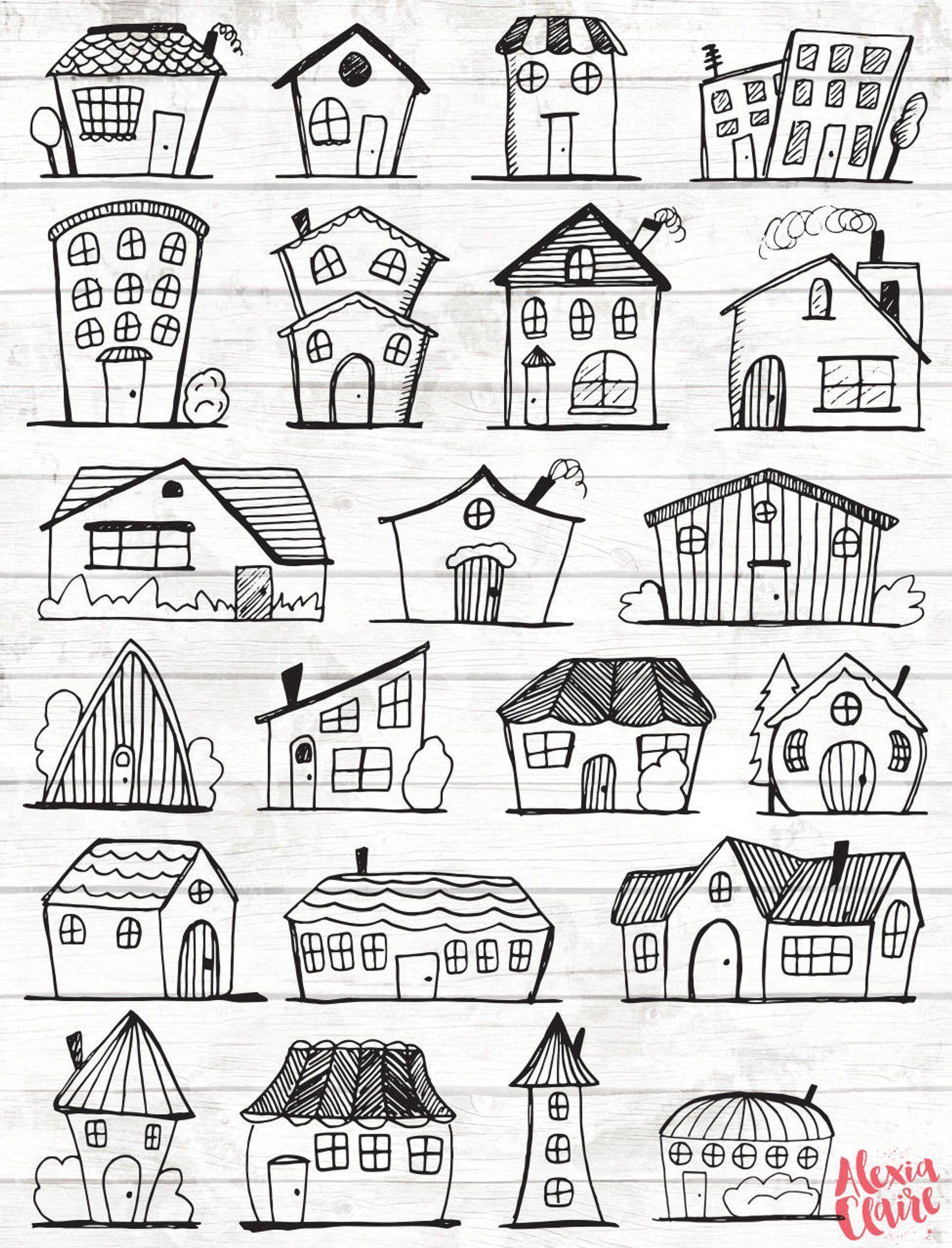 doodle haus clipart vektor kunst stadt png home vector download illustr illyustracii ruk risunki karakuli schmetterling vektoren