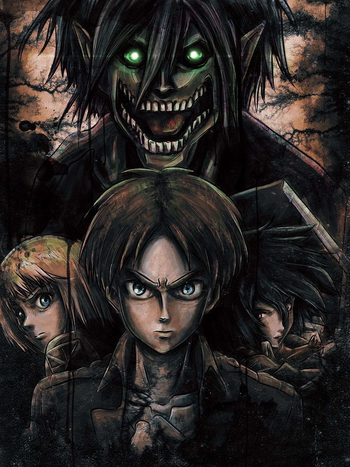 The main characters of Attack On TItan, Eren, Mikasa and
