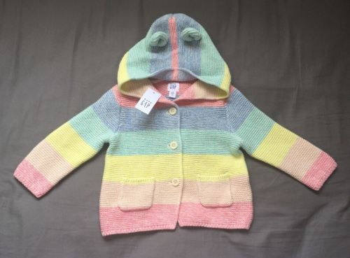 Nwt Baby Gap Girls 6-12 Months Bright Pink Sweater With Bear Ears