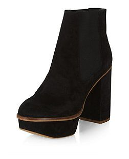 a0f2bc0e5d Black Premium Suede Chunky Platform Chelsea Boots | New Look | Shoes ...