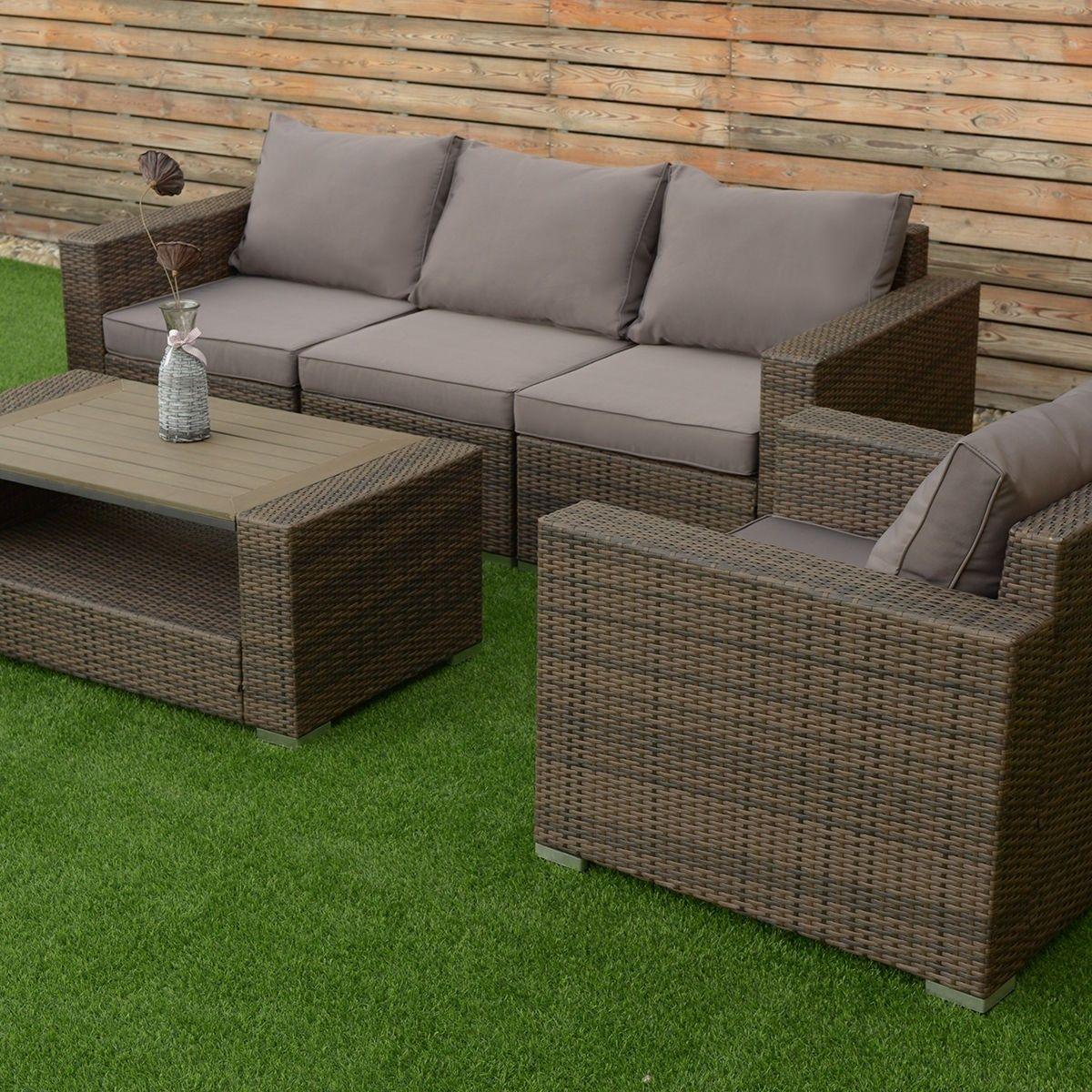 7 pcs Patio Rattan Sectional Aluminum Frame Furniture Set | 7 pcs ...