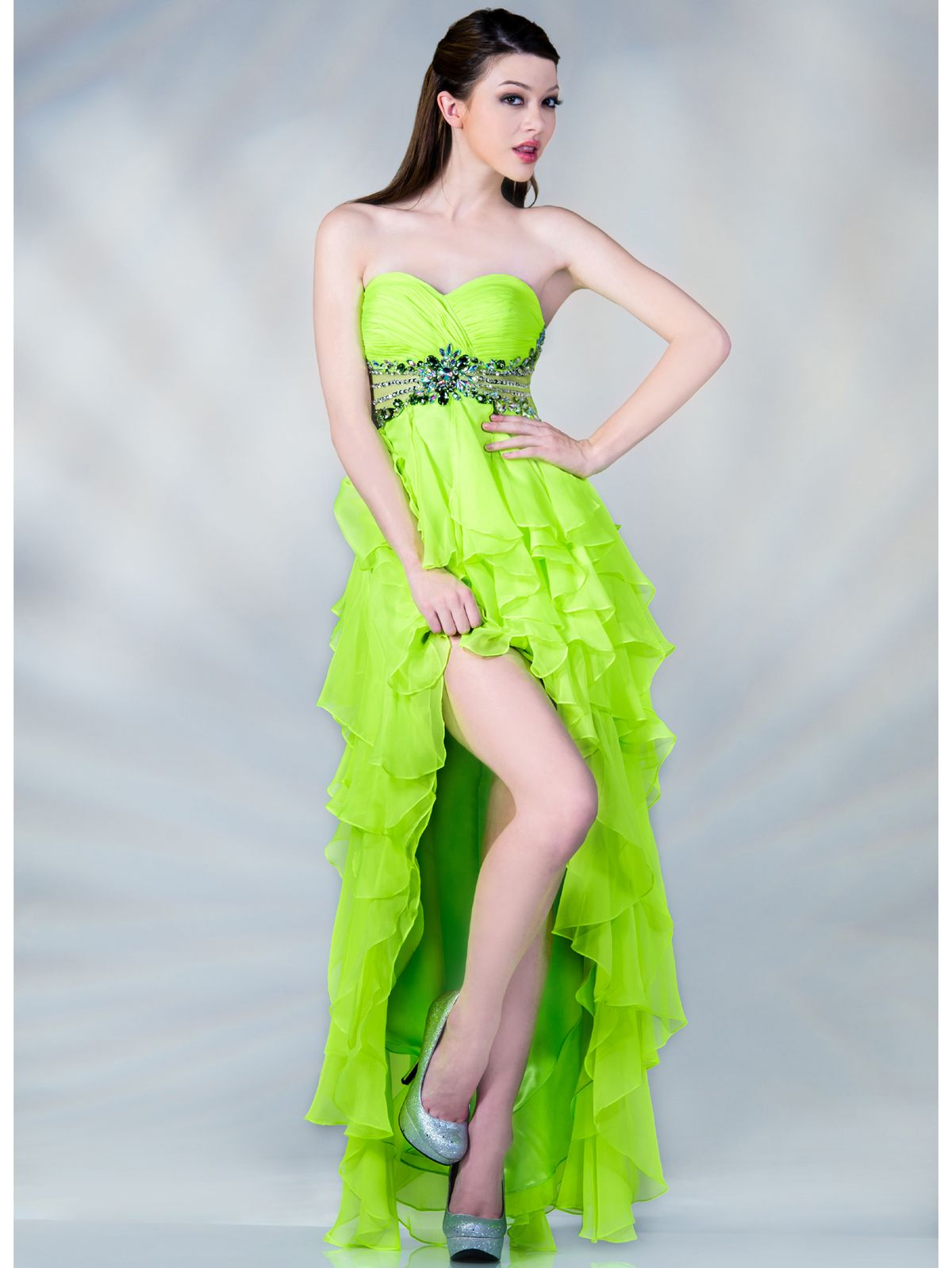 Neon Empire Waist High Low Prom Dress. Get yours at sungboutiquela ...