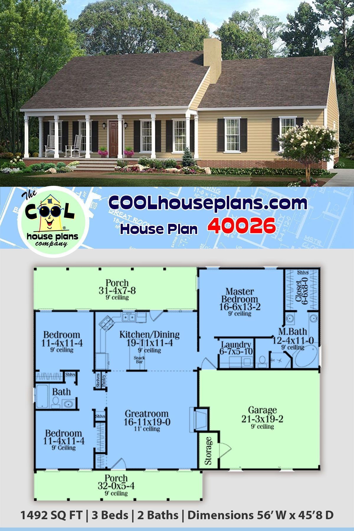 Ranch Style House Plan 40026 With 3 Bed 2 Bath 2 Car Garage In 2020 Affordable House Plans House Plans Ranch House Designs