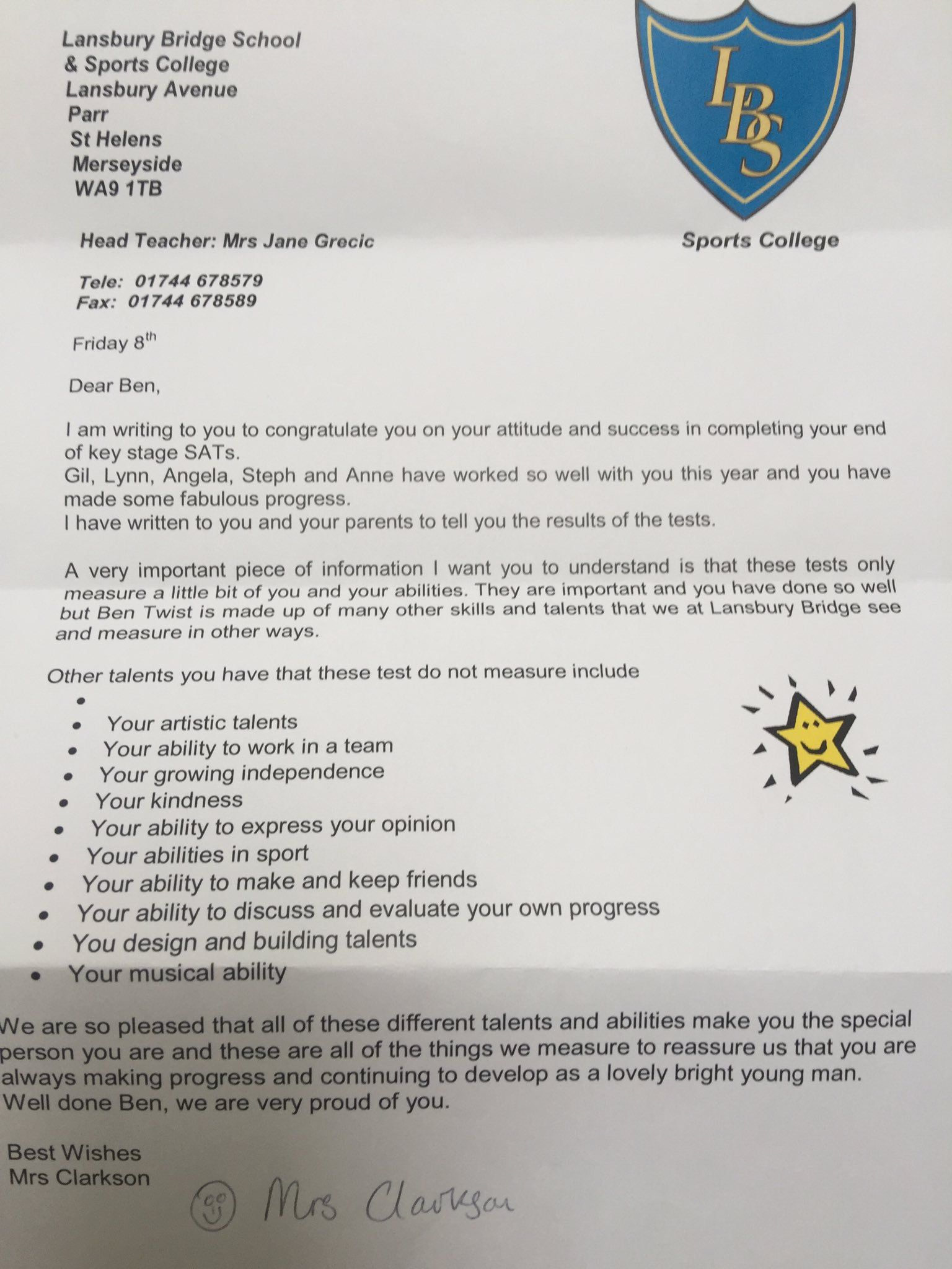 A Boy With Autism Failed a Test and Got This Moving Letter From