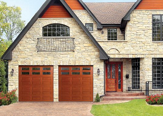 Mahogany Wood Garage Grey House Home There S No Better Choice Than To Add Wayne Dalton Carriage House Doors Garage Door Makeover Residential Garage Doors