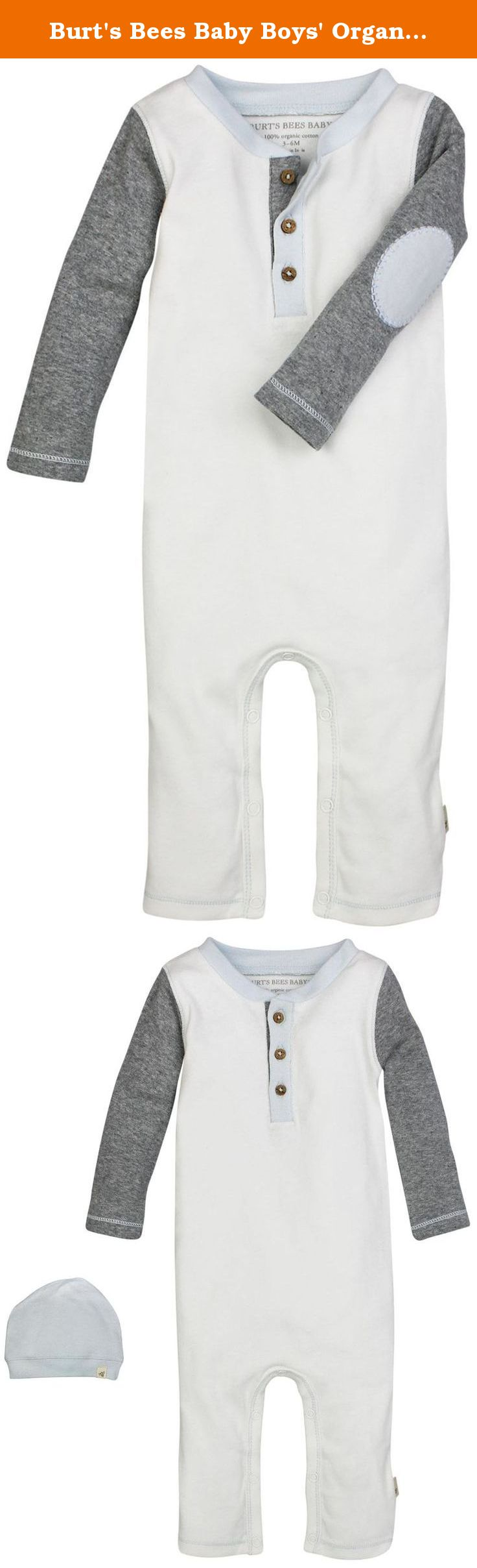a92925d4485 Burt's Bees Baby Boys' Organic Henley Coverall + Slouchy Hat, Vanilla  Cream, 18