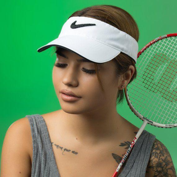 51ac4505bef4ce Mother's Day Gift, White Bling Nike Visor Hat | Golf Visor, Tennis ...