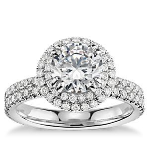 Blue Nile Studio Double Halo Gala Diamond Engagement Ring in Platinum (1 ct. tw.)