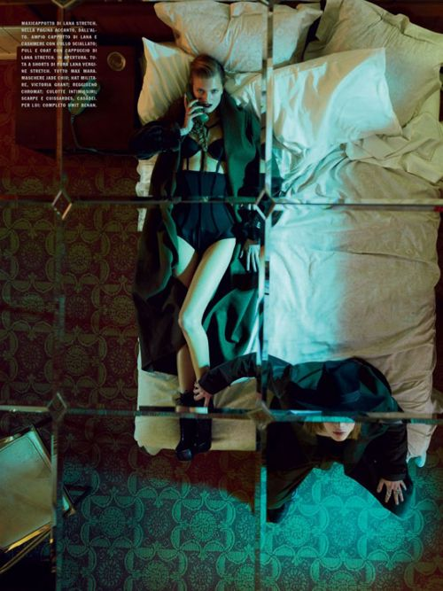 Patti Wilson styles Constance Jablonski in a 'Mix of Sexy and Military' for  this motel room escapade lensed by Emma Summerton for Vogue Italia  September.