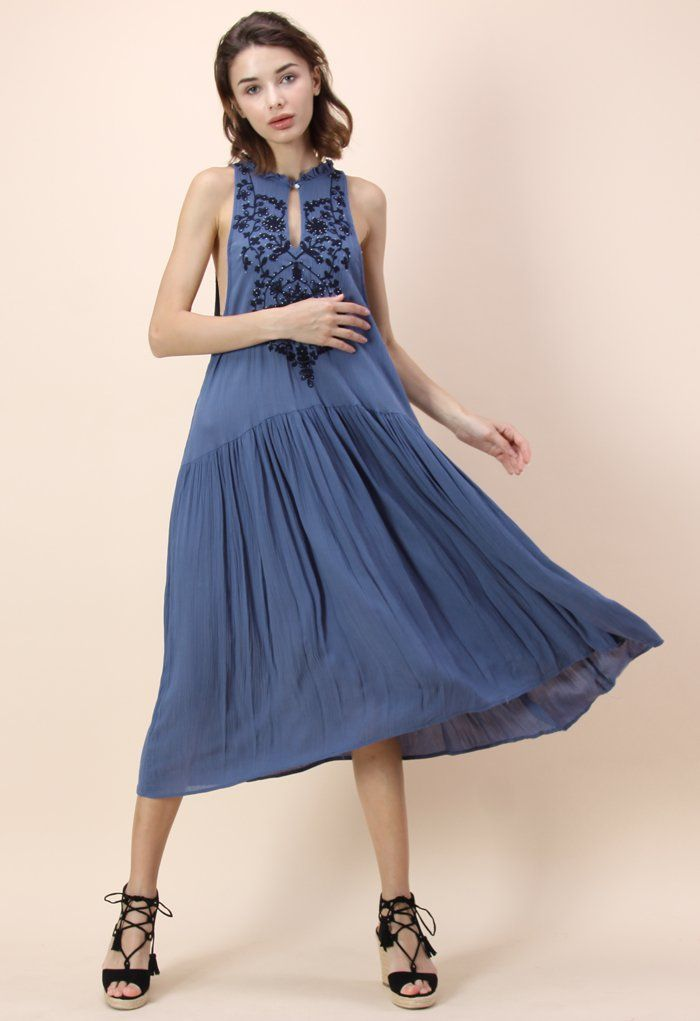 Blue Miracle Embroidered Crepe Dress - Party - Dress - Retro, Indie and Unique Fashion