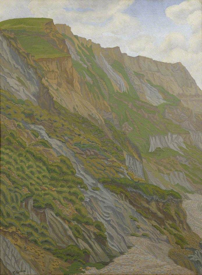 Charles Ginner (British, 1878-1952), Cornish Cliffs, 1920-29. Oil on canvas, 69 x 51 cm. The Ashmolean Museum of Art and Archaeology, Oxford.