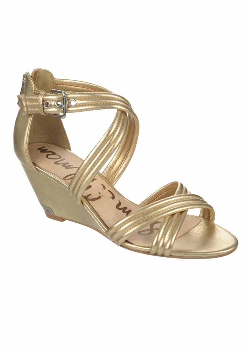 60d1b59f2fb2 Sam Edelman Sloan Low Wedge Sandals - Rich Gold in To-Be-Confirmed