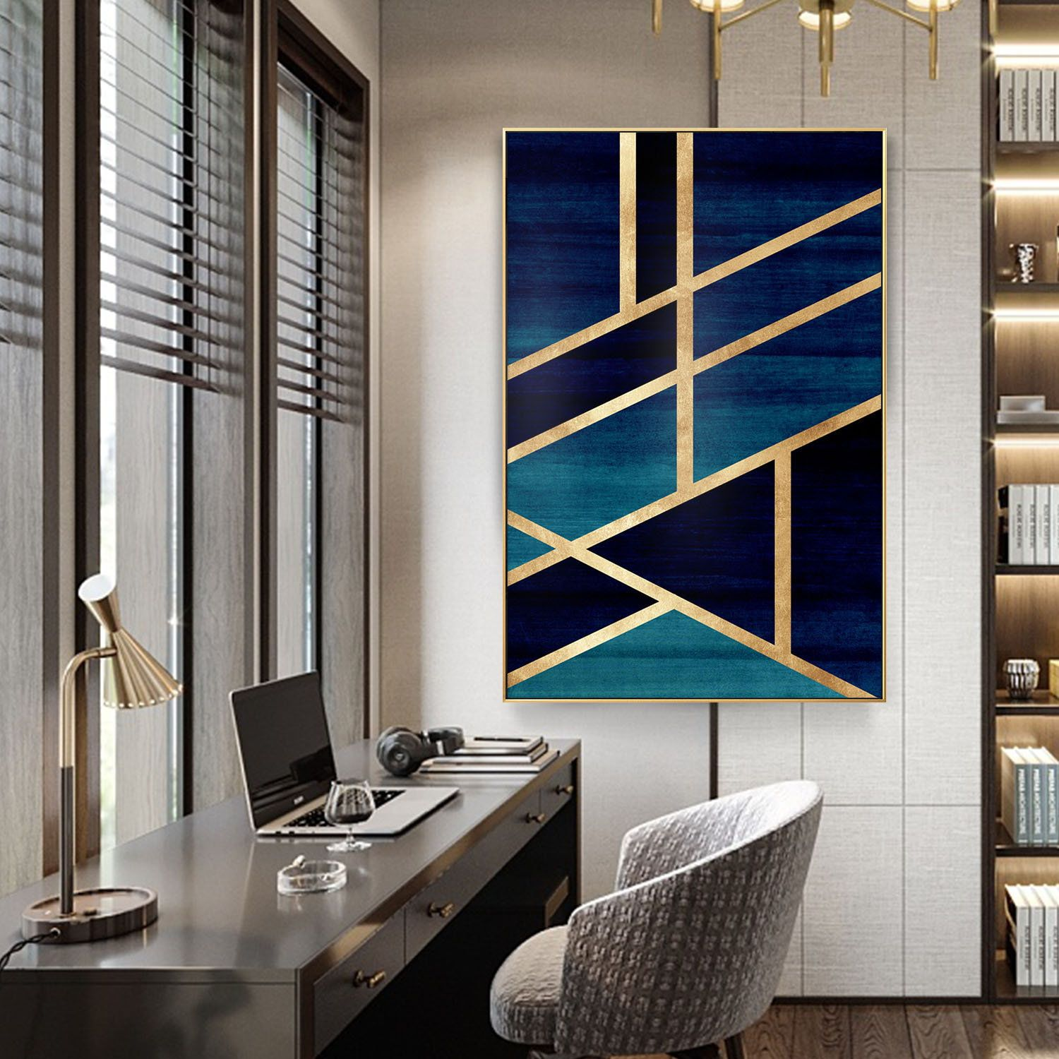 Modern Geometric Gold Navy Blue Simple Nordic Abstract Design On Canvas Print Painting Framed Wall Art Decorat Geometric Wall Art Large Wall Art Diy Canvas Art
