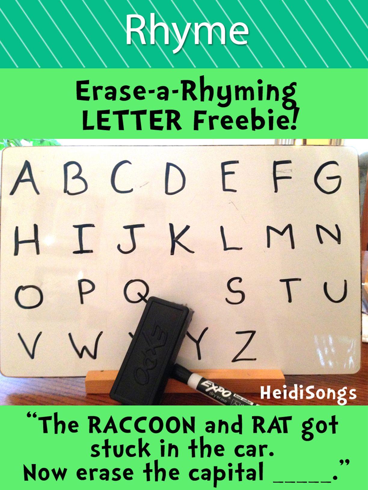 Erase A Rhyming Letter Freebie