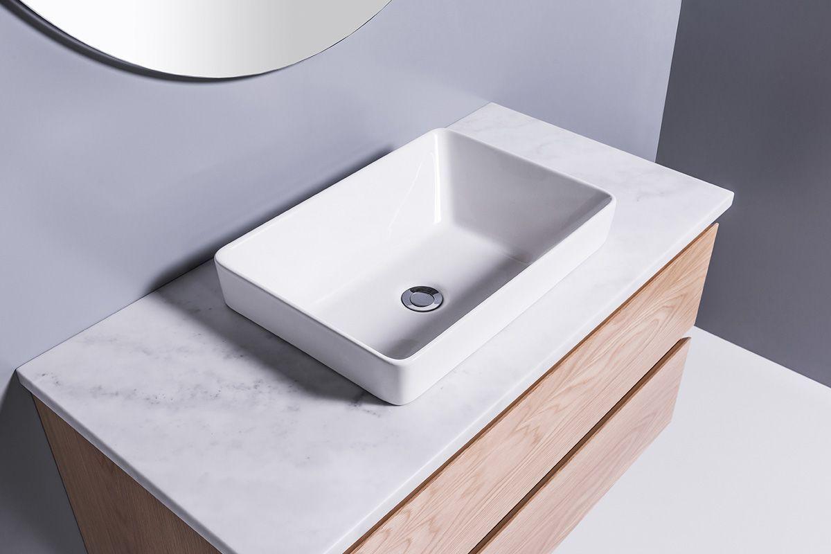 sleek rectangle semi recessed basin