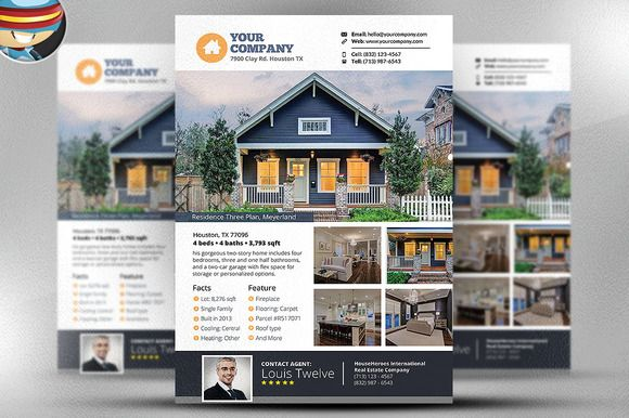 Real Estate Flyer Template v3 by FlyerHeroes on @creativemarket - home sale flyer template