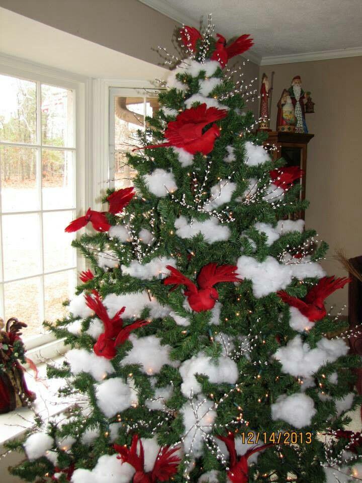 Redbirds On Snow Christmas Tree Christmas Tree Christmas Decor Diy Xmas Decorations