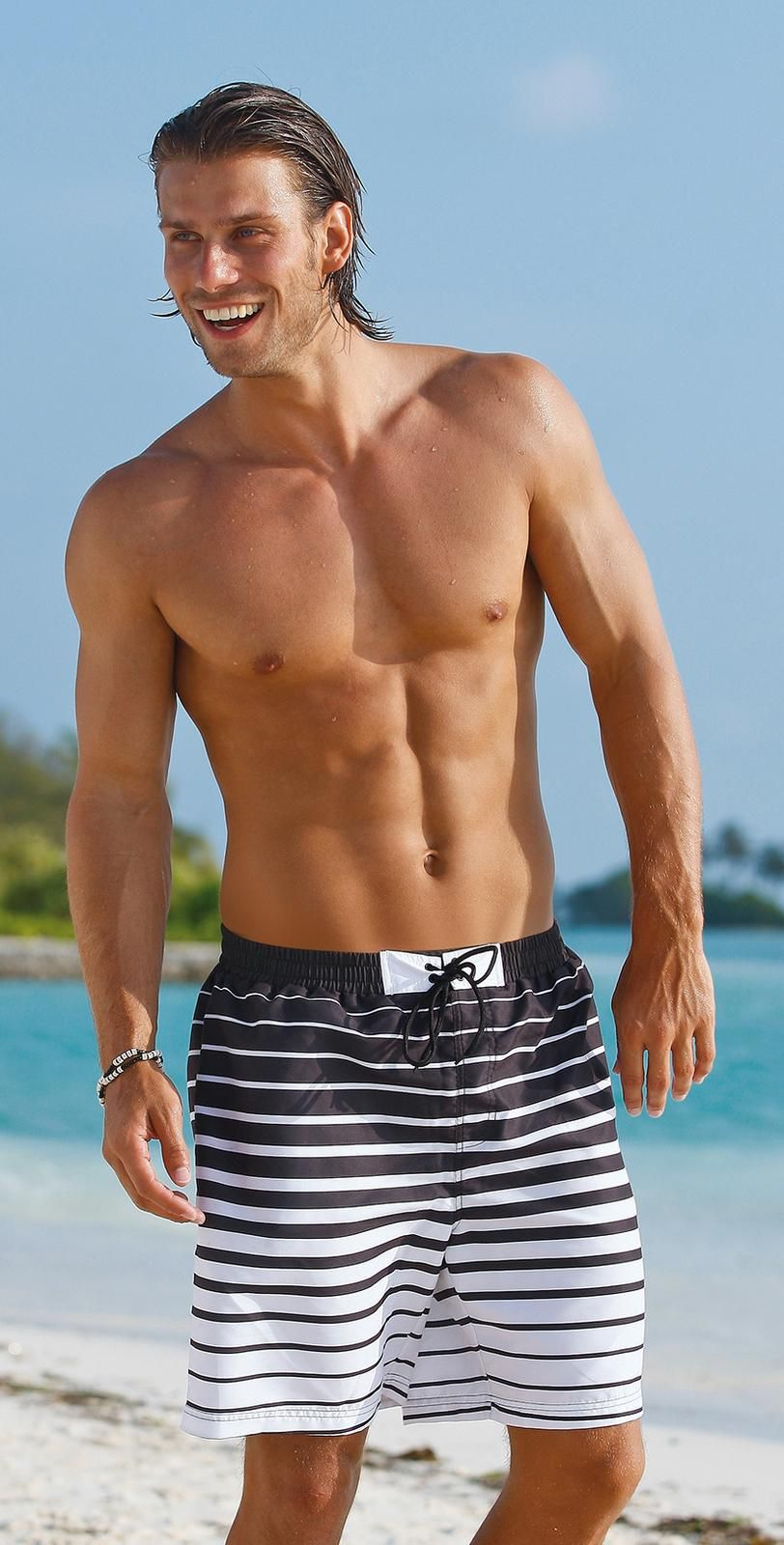 c72ff85a56 #Sunflair 2014 #Sunman Black White Stripe Swim #Trunks 25050-05 # southbeachswimsuits