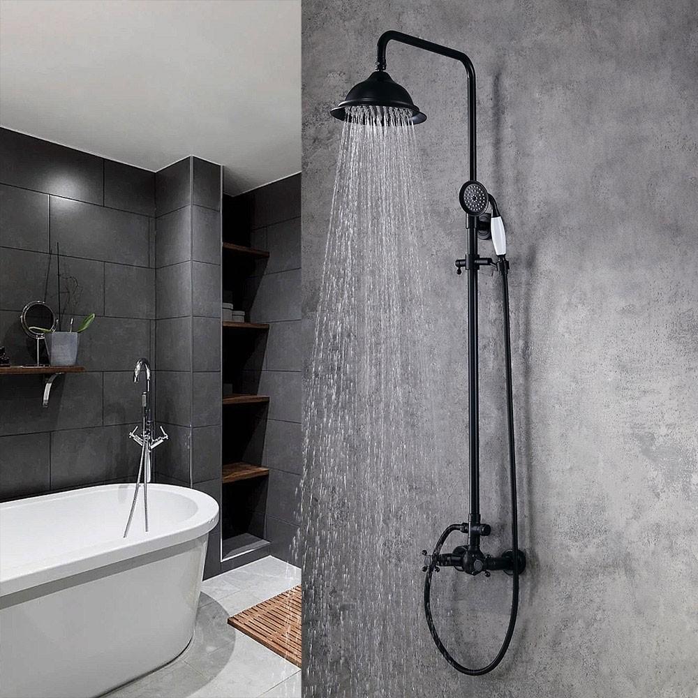 Chester Elegant Antique Black Rainfall Showerhead With Handheld