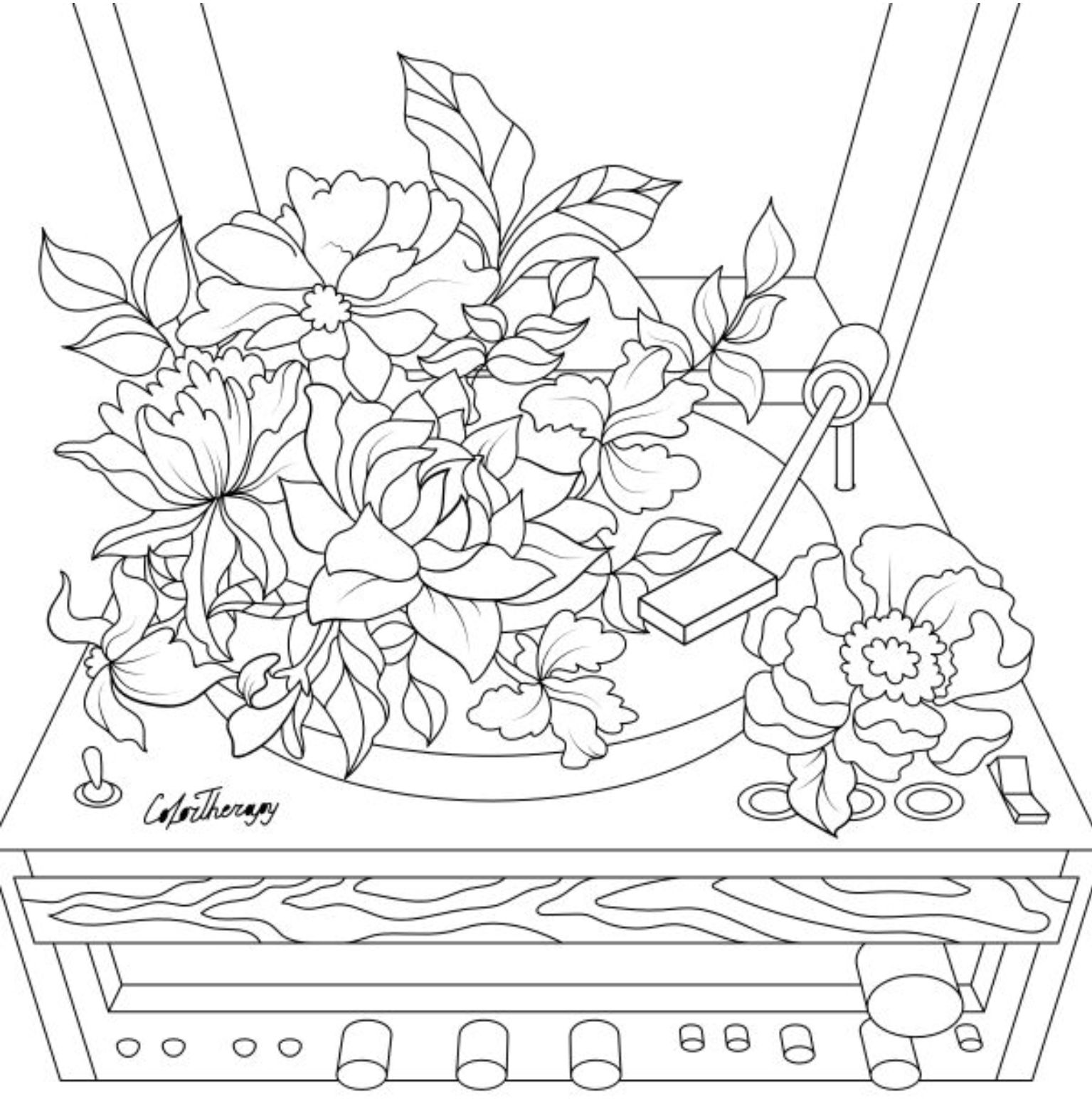 The Sneakpeek For The Next Gift Of The Day Tomorrow Do You Like This One Gramophone Flowers Coloring Books Coloring Pages Cute Coloring Pages
