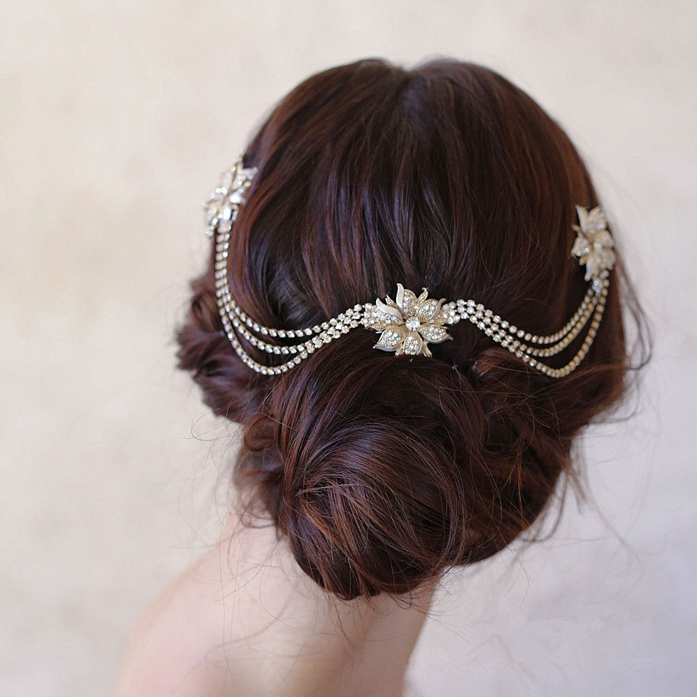 gold flower head chain with hair combs bride hair vine jewelry