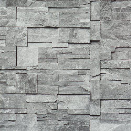 Walls Republic R1875 Stone Wallpaper, Grey