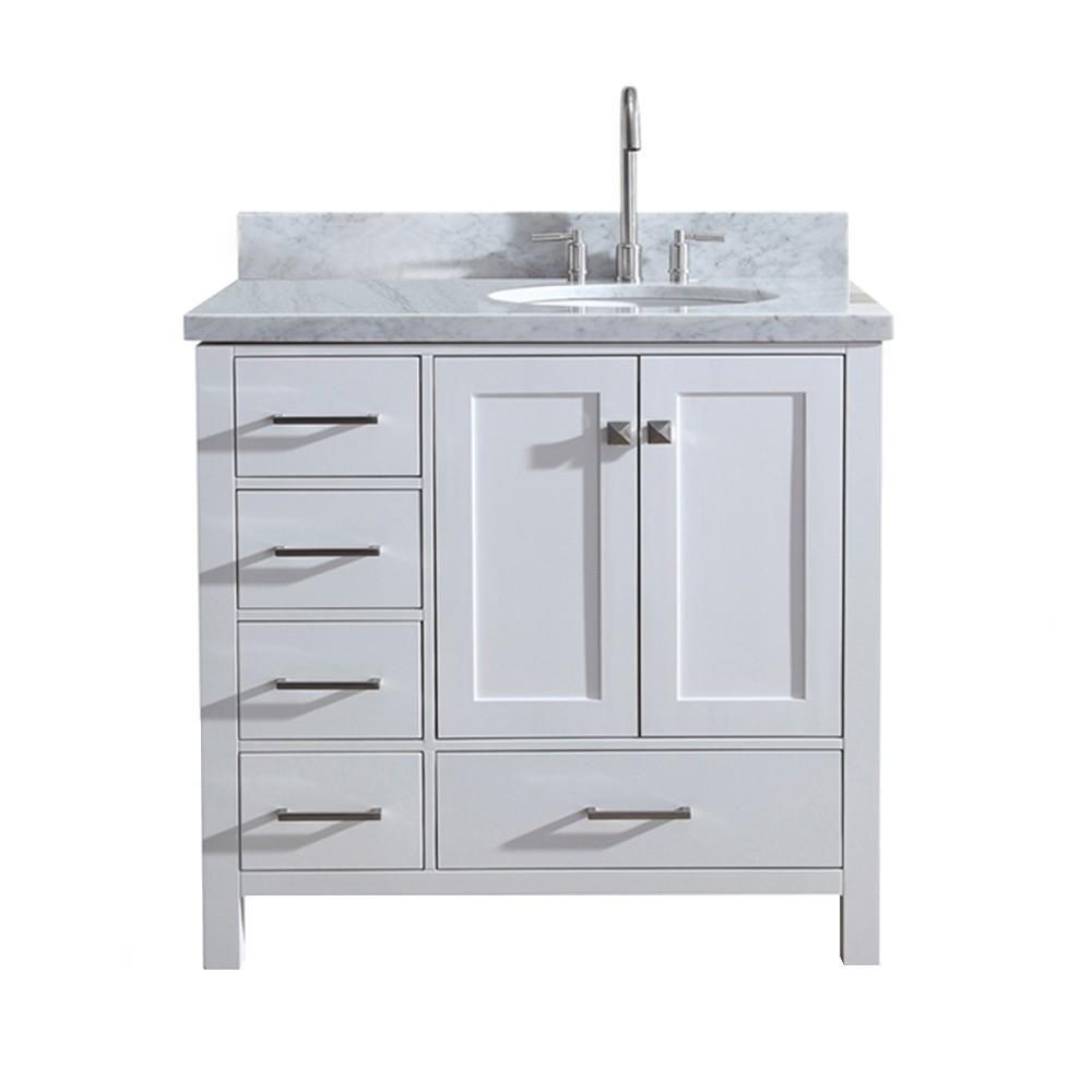 Ariel A037srvowht 1 179 00 White Vanity Bathroom Single Sink Vanity Marble Vanity Tops [ 1000 x 1000 Pixel ]