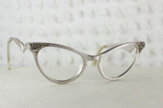 1950\'s Cat Eye Glasses Women\'s Eyeglasses Aluminum Silver Mirror ...