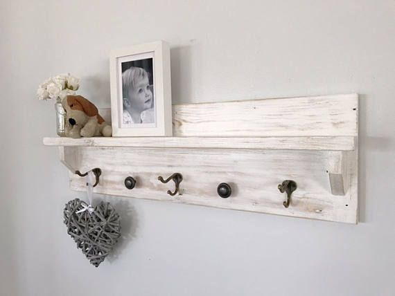 Australian Up Cycled Handmade Shabby Chic Wood Coat Rack With Shelf Hooks Hanger Entryway Wall Mounted Hanging Organiser Decor Floating Key Shabby Chic Coat Rack Handmade Shabby Chic
