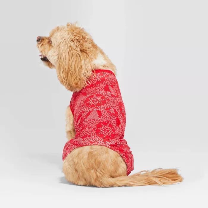 Pet Holiday Pajamas Red Snowflake Hearth & Hand™ With