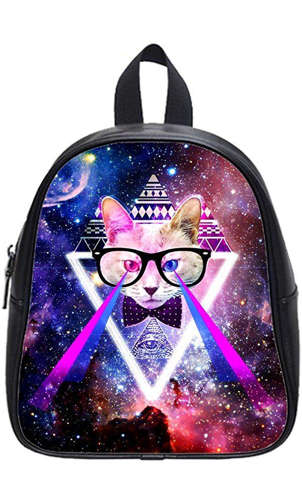 JIUDUIDODO Fashion Custom PU Leather Funny Cat & Galaxy Space School Bags Backpacks Outdoor Bags (Medium) Best Price