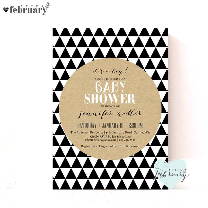 Modern Baby Shower Invitation Geometric Triangles Trend Kraft Black And White Shapes Digital Printable