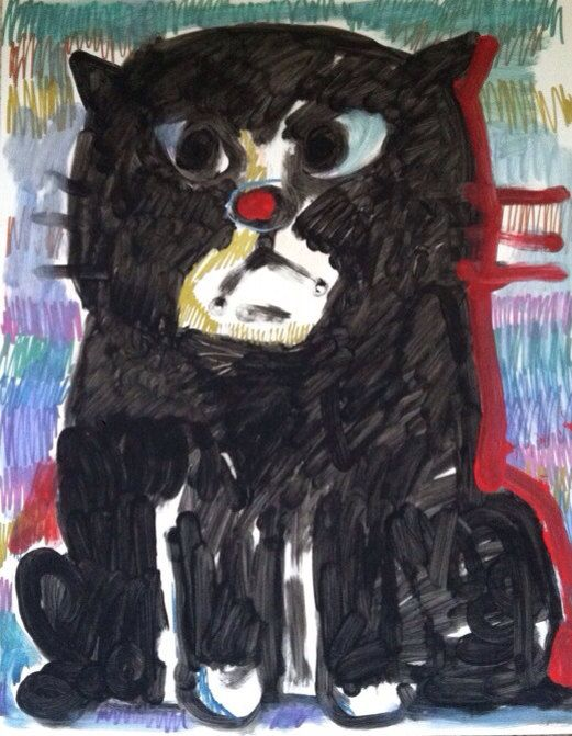 Cat original art poster marker, paint pen, cat art, cat, black cats Melissa Bollen on Etsy, $30.00
