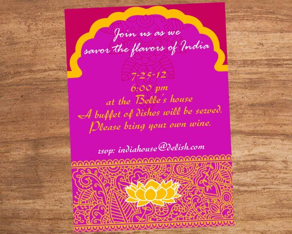 India Indian Food Party Invitation by SBVintageAndDesign on Etsy – Moroccan Party Invitations