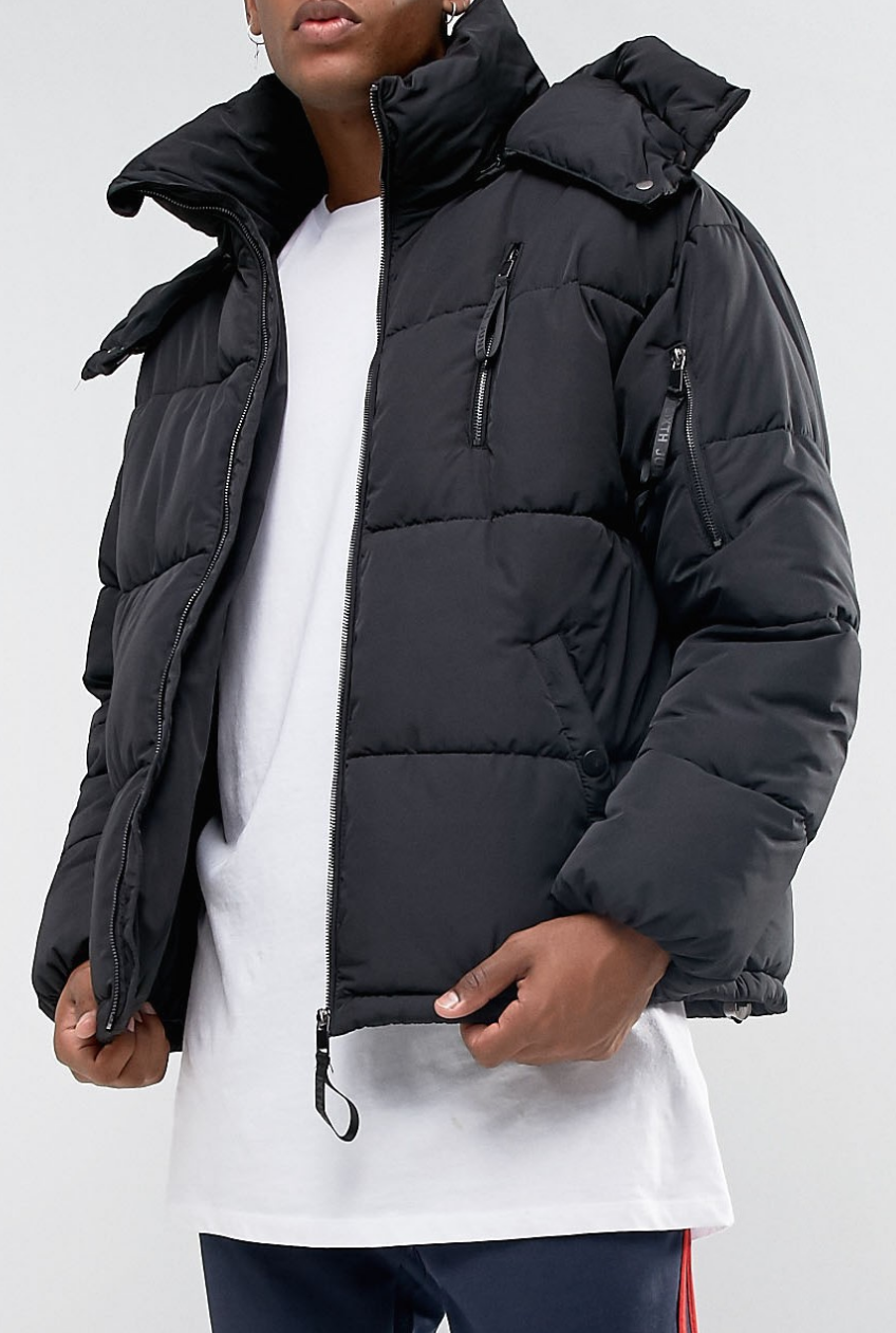 Sixth June Puffer Jacket In Black With Faux Fur Hood from