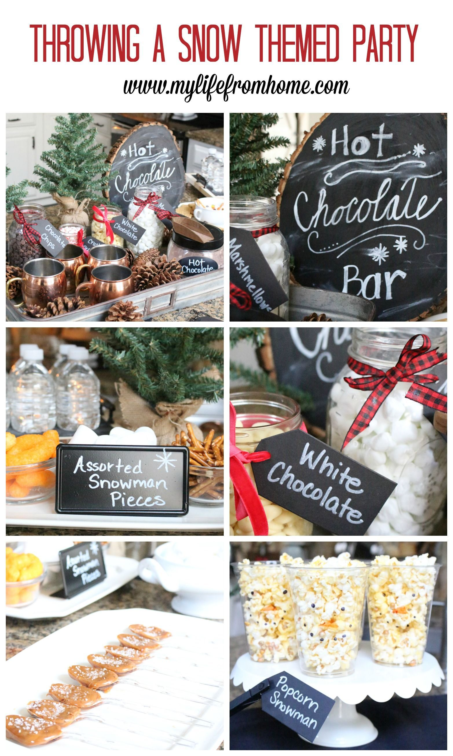 Hot Chocolate Station for a Snow Themed Party | White Cottage Home & Living -  Throwing a snow themed party- winter party ideas- hot chocolate station- hot chocolate bar- party i - #Chocolate #Cottage #Home #Hot #Living #Party #Snow #Station #Themed #White #Winterpartytheme