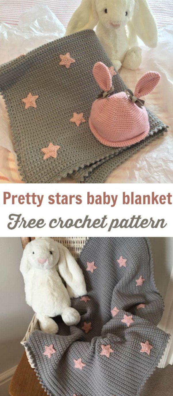 Grey Baby Blanket Simple Stars Crochet Pattern   Ganchillo y Patrones