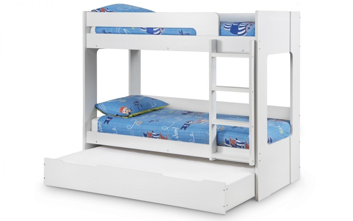 Sturdy Bunk Bed In A Matt White Finish With Pull Out Drawer Great