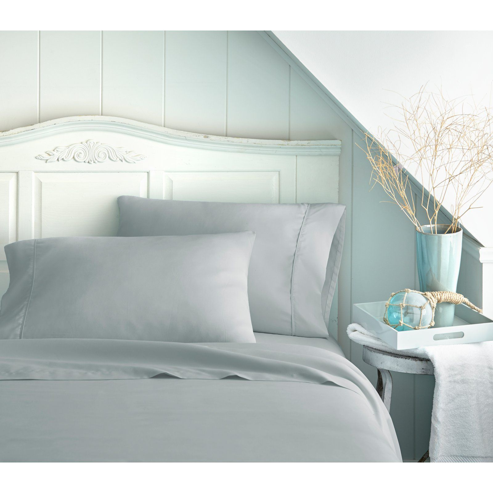 800 Thread Count Premium Ultra Soft Solid Sheet Set By Le Linens Light Gray
