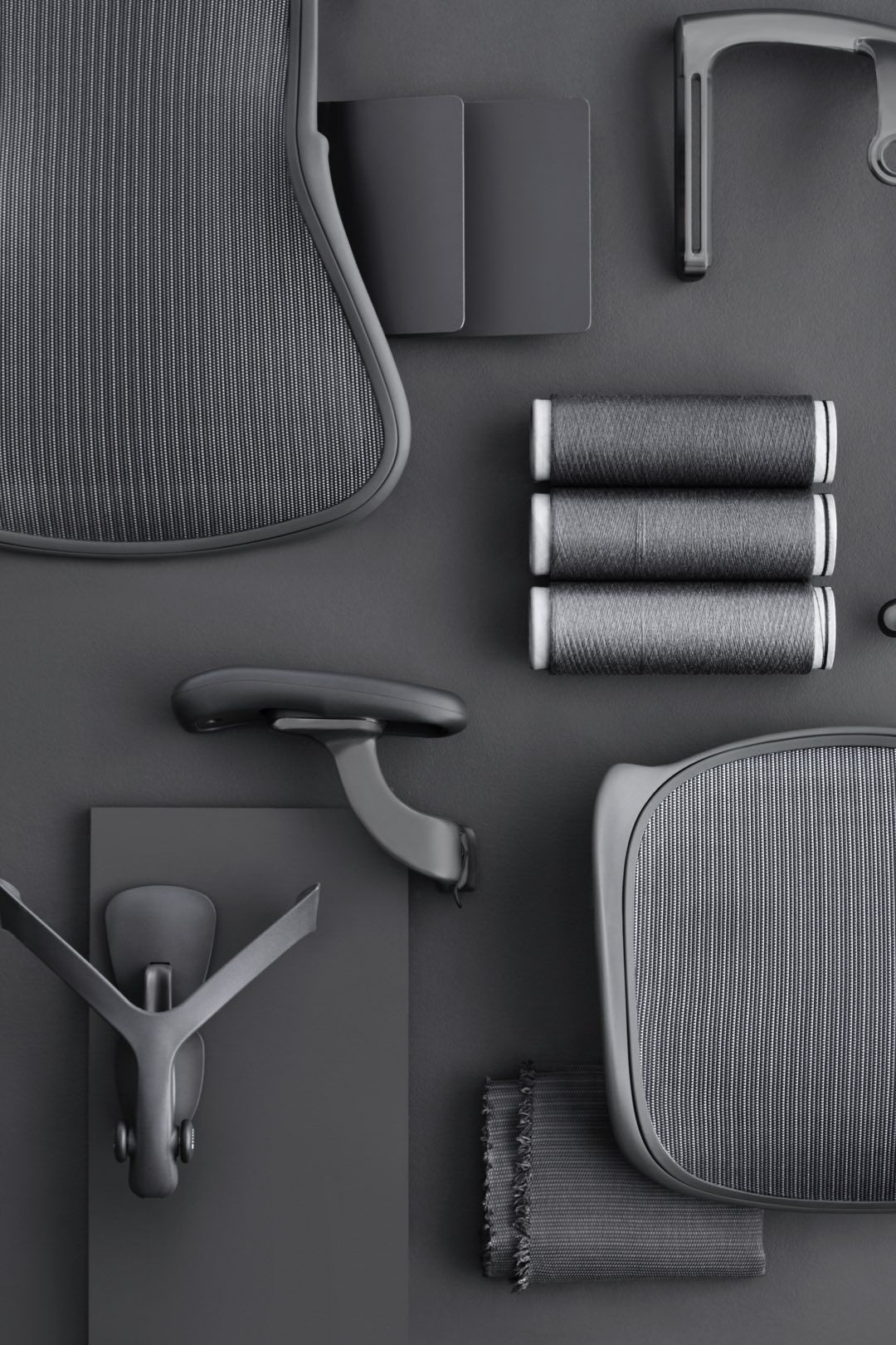 Individual parts of the new Aeron chair including PostureFit SL