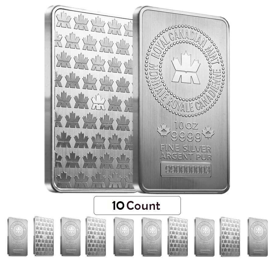 Lot of 10 - 10 oz Royal Canadian Mint (RCM) .9999 Fine Silver Bar (sealed) | Bullion Exchanges