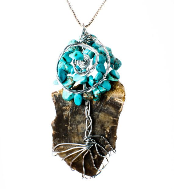 Natural Petrified Wood and Turquoise by ConsciousCreations26