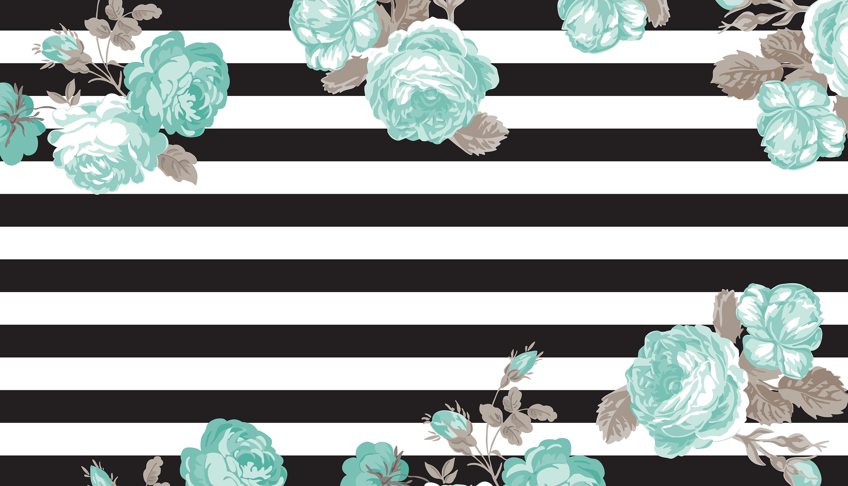 Betsy Black Stripe and Teal Floral Desktop Wallpaper