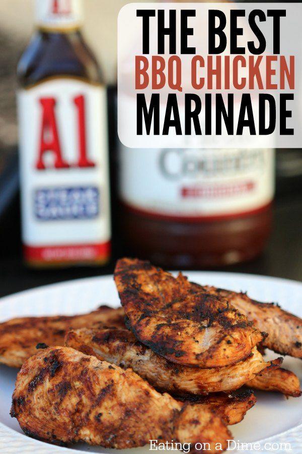 Best Bbq Chicken Marinade Recipe 2 Ingredients Eating On A Dime Bbq Chicken Recipes Best Bbq Chicken Best Bbq Chicken Marinade