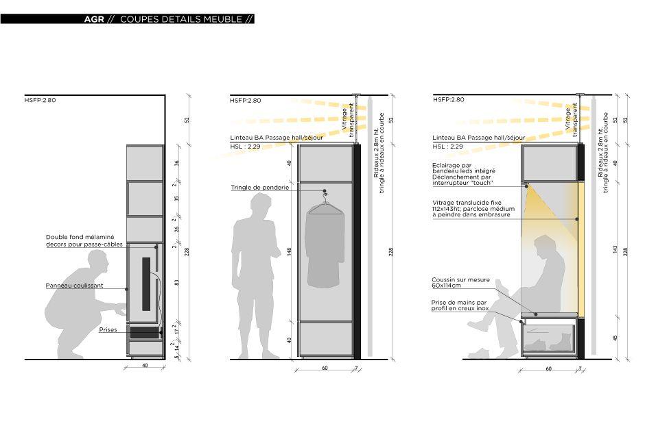 r novation d 39 un appartement contemporain lyon avec un meuble central sur mesure d tail en. Black Bedroom Furniture Sets. Home Design Ideas