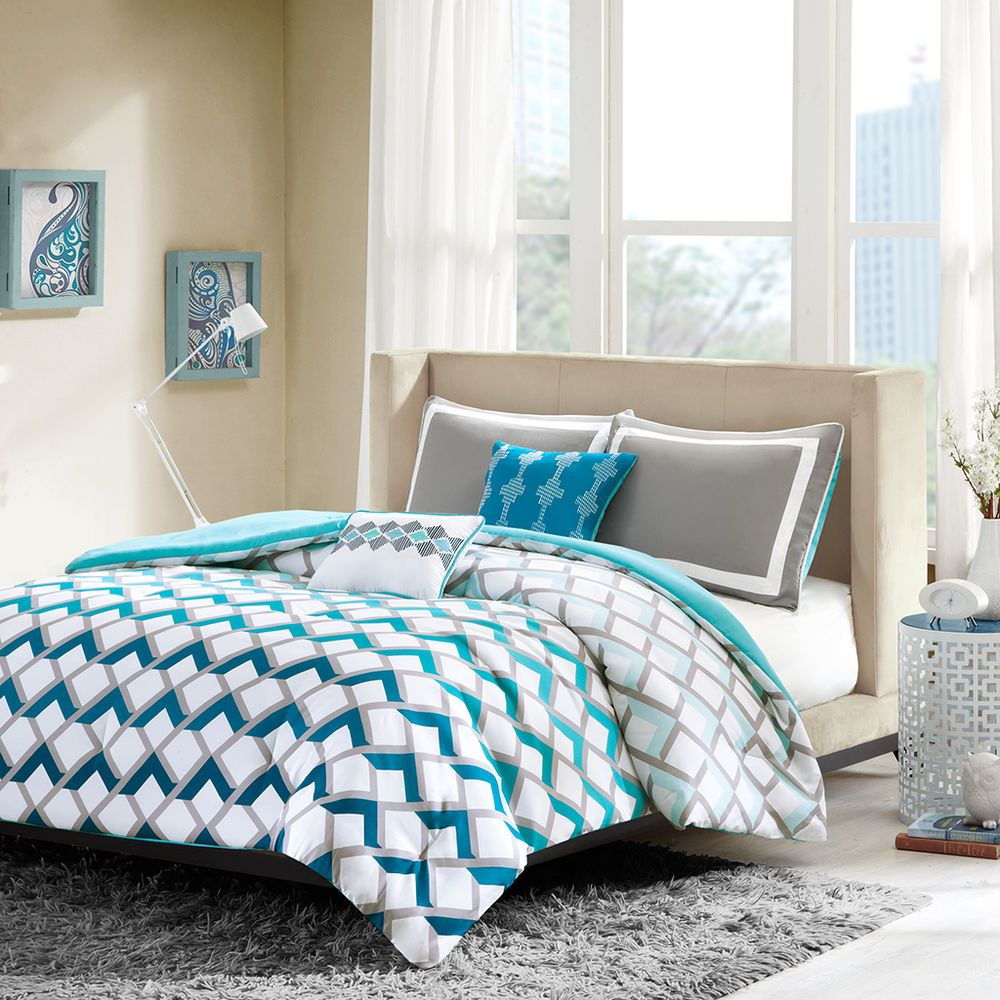 Design Comforters For Teens modern sporty blue teal aqua grey chevron stripe comforter set intelligent design finn 4 piece twintwin x large blue
