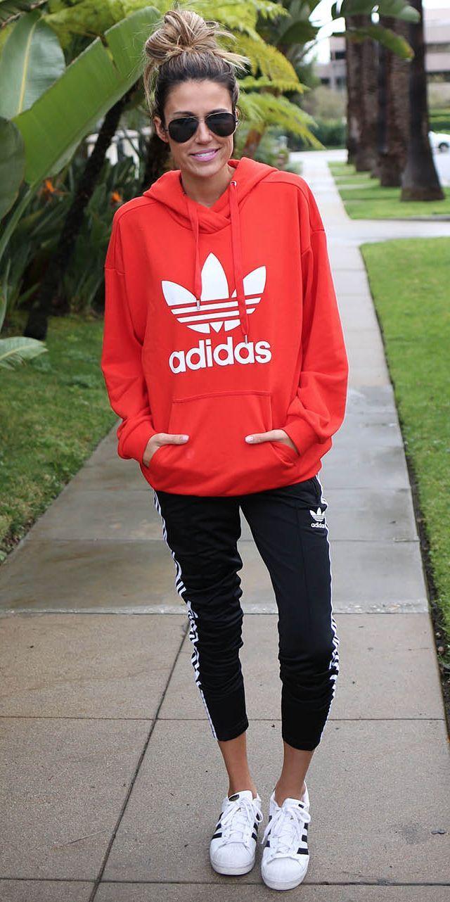 Red Adidas Gear Street Fashion Red Adidas Sweatshirt Red Hoodie Outfit Adidas Hoodie Outfit [ 1282 x 640 Pixel ]