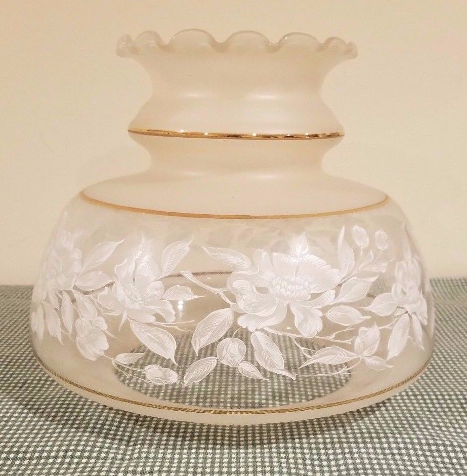 Vintage Quoizel Satin Lace Replacement Glass Lamp Shade Gwtw White