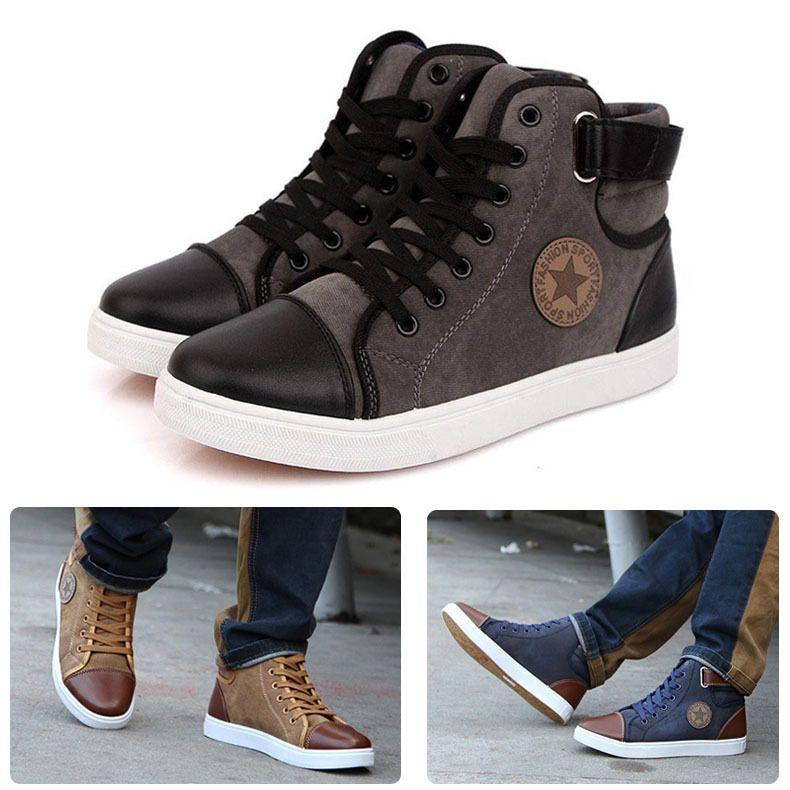 734796f4 ... Nuevo 2015 primavera invierno zapatillas para hombre Casual zapatillas  de Canvas moda en forma de bota zapatillas de deporte alta calidad plana  zapatos ...